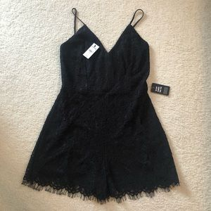 NWT black lace Express romper